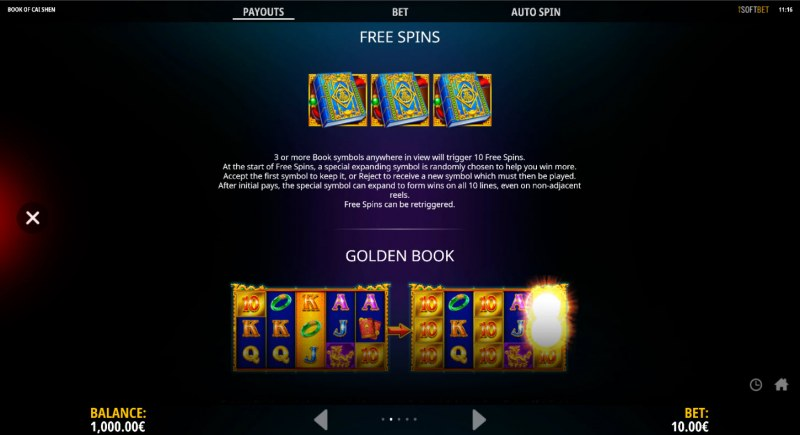 Book of Cai Shen :: Free Spin Feature Rules