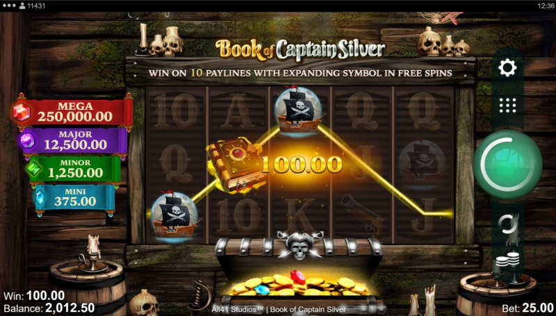 Book of Captain Silver :: A three of a kind win