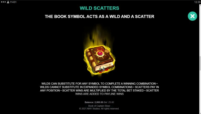 Book of Captain Silver :: Wild and Scatter Rules