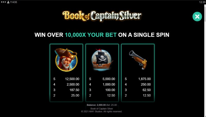 Book of Captain Silver :: Paytable - High Value Symbols