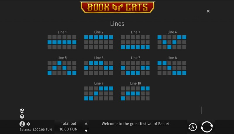 Book of Cats :: Paylines 1-10