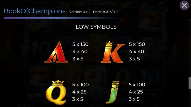 Book of Champions Reloaded :: Paytable - Low Value Symbols