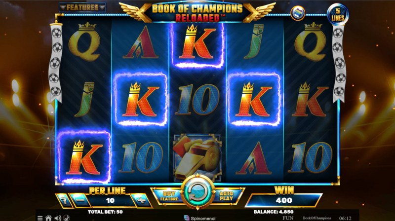 Book of Champions Reloaded :: A four of a kind win