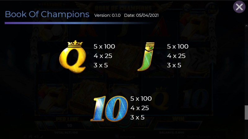 Book of Champions :: Paytable - Low Value Symbols