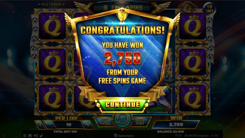 Book of Champions :: Total Free Spins Payout