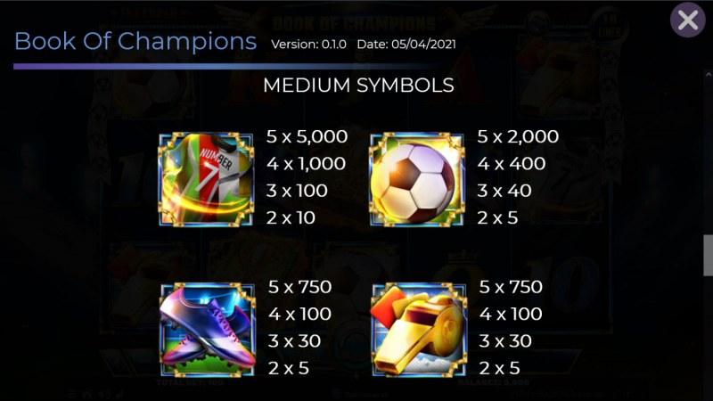 Book of Champions :: Paytable - Medium Value Symbols