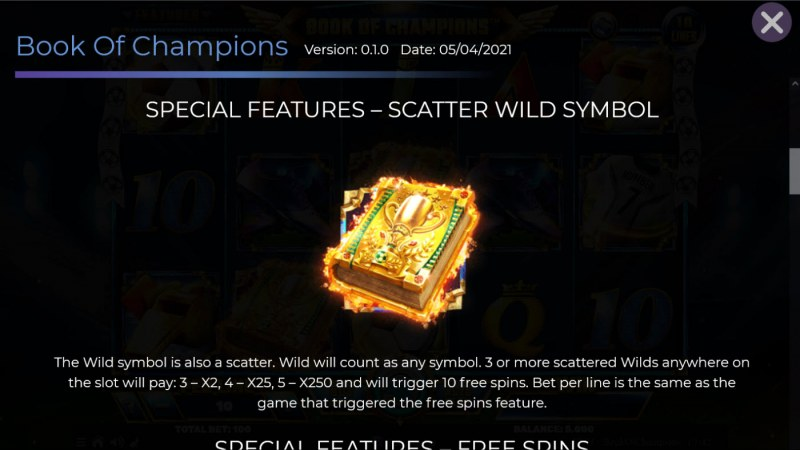 Book of Champions :: Wild and Scatter Rules