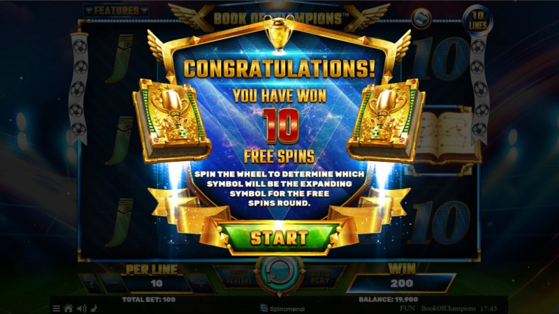Book of Champions :: 10 free spins awarded