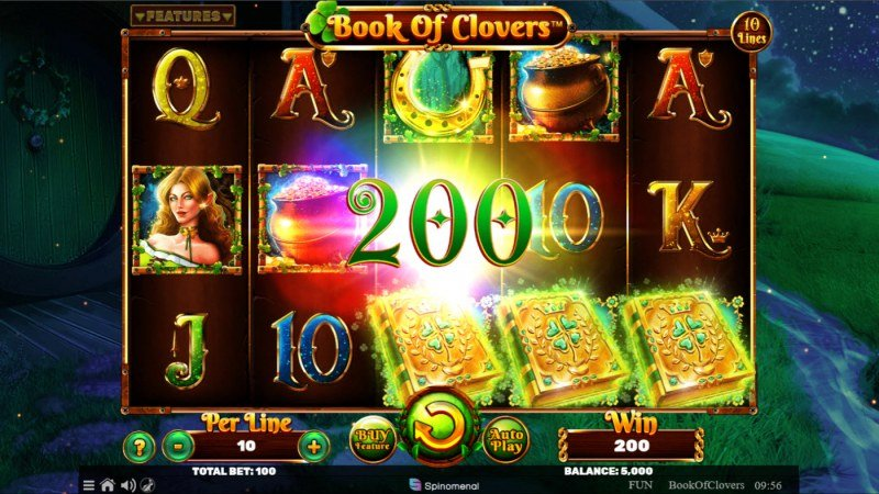 Book of Clovers :: Scatter symbols triggers the free spins bonus feature