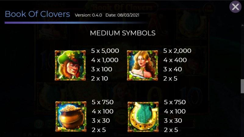 Book of Clovers :: Paytable - Medium Value Symbols