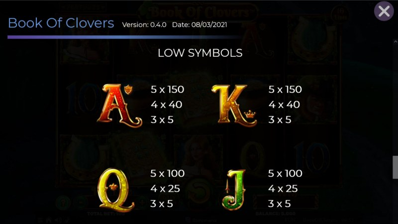 Book of Clovers :: Paytable - Low Value Symbols