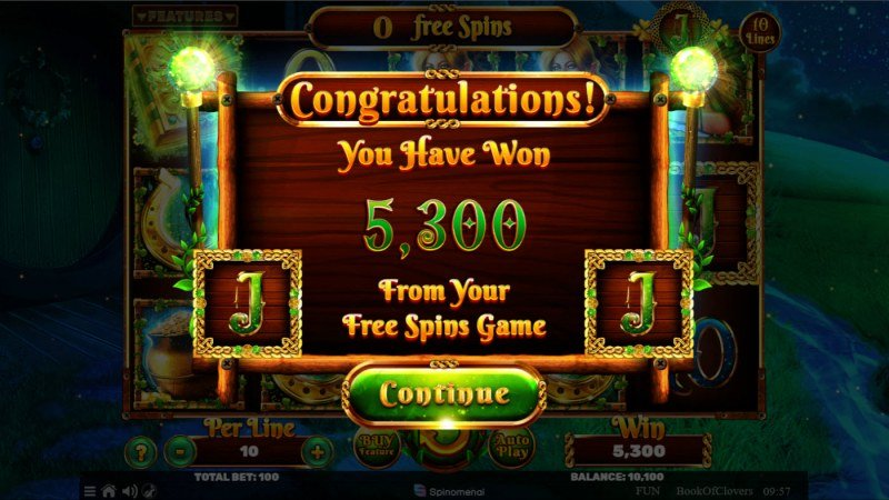 Book of Clovers :: Total Free Spins Payout