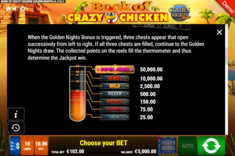 Book of Crazy Chicken Golden Nights Bonus :: Bonus Game Rules