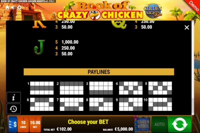 Book of Crazy Chicken Golden Nights Bonus :: Paylines 1-10