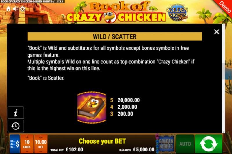 Book of Crazy Chicken Golden Nights Bonus :: Wild Symbols Rules