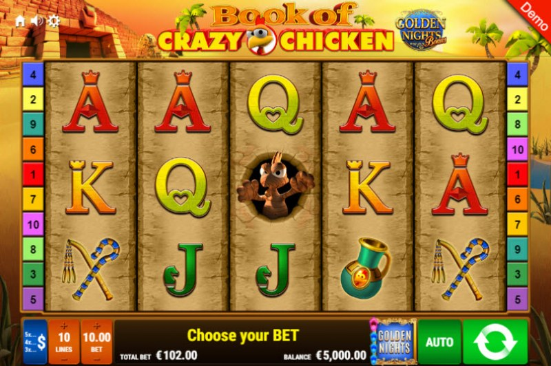 Book of Crazy Chicken Golden Nights Bonus :: Main Game Board