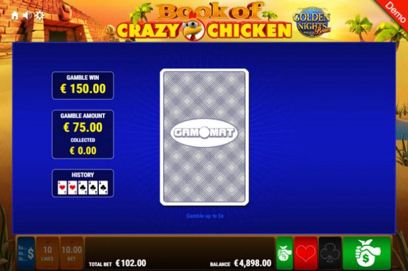 Book of Crazy Chicken Golden Nights Bonus :: Red or Black Gamble Feature