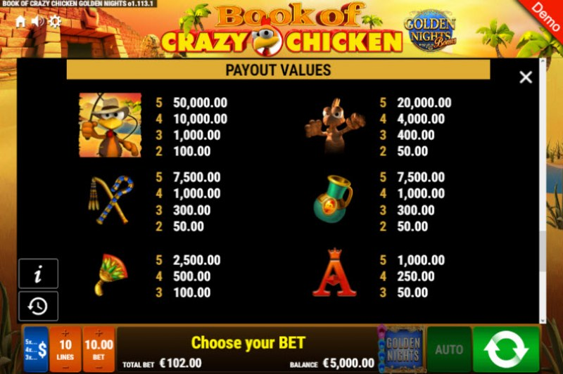 Book of Crazy Chicken Golden Nights Bonus :: Paytable - High Value Symbols