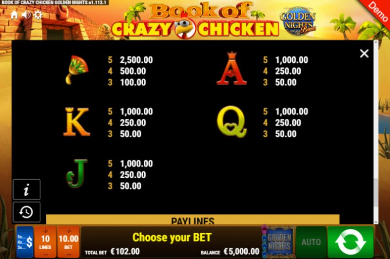 Book of Crazy Chicken Golden Nights Bonus :: Paytable - Low Value Symbols