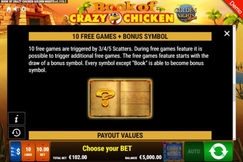 Book of Crazy Chicken Golden Nights Bonus :: Free Spins Rules