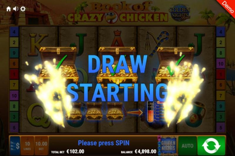 Book of Crazy Chicken Golden Nights Bonus :: Golden Night Bonus randomly activates during any spin