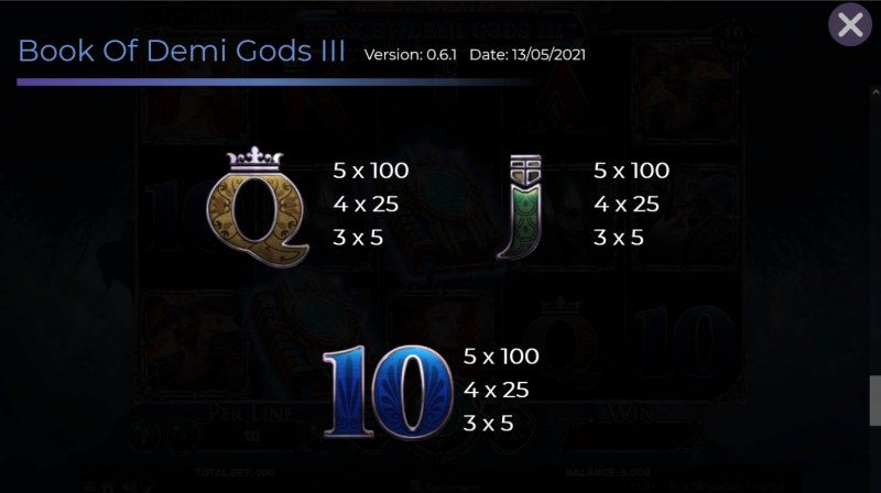 Book of Demi Gods 3 :: Paytable - Low Value Symbols