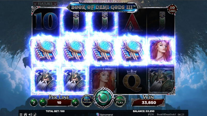Book of Demi Gods 3 :: Scatter symbols triggers the free spins bonus feature