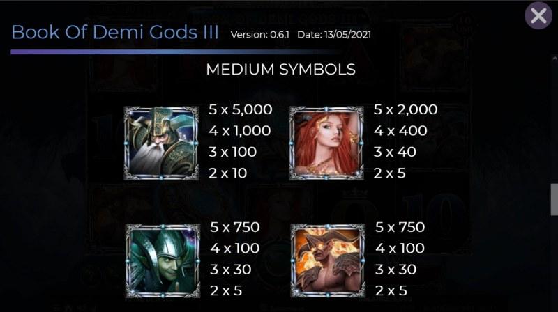 Book of Demi Gods 3 :: Paytable - Medium Value Symbols