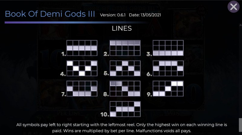 Book of Demi Gods 3 :: Paylines 1-10