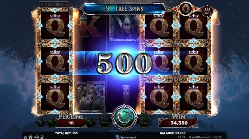 Book of Demi Gods 3 :: Selected symbol expands during free games
