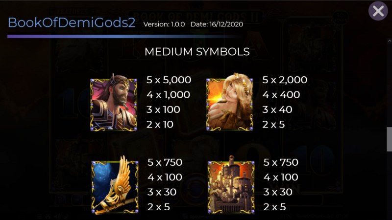 Book of Demi Gods II :: Paytable - Medium Value Symbols