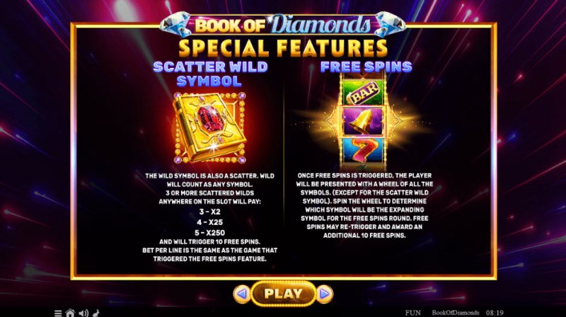 Book of Diamonds :: Scatter Symbol Rules