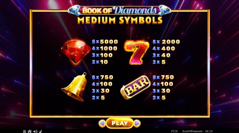 Book of Diamonds :: Paytable - High Value Symbols