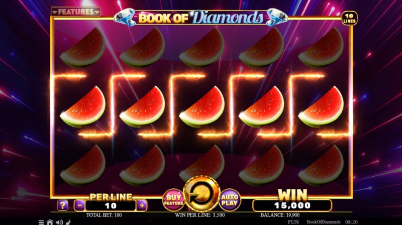 Book of Diamonds :: Fully stacked watermelon symbols leads to a big win