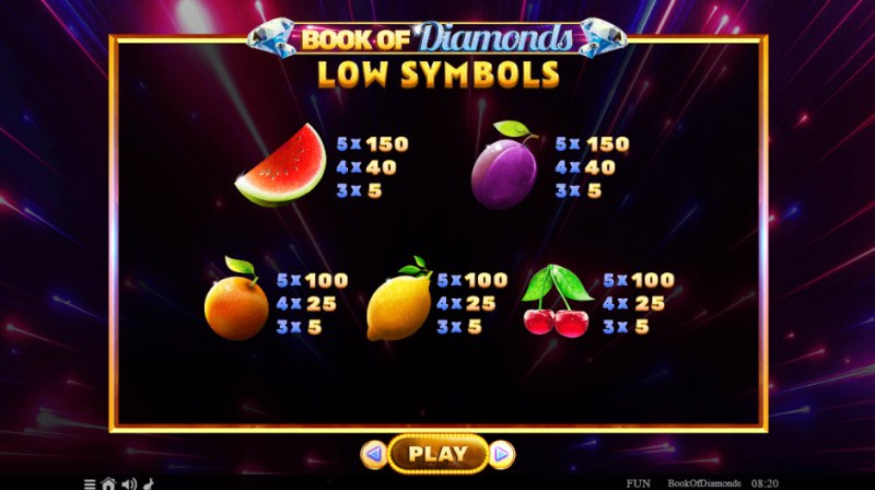 Book of Diamonds :: Paytable - Low Value Symbols