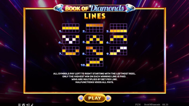 Book of Diamonds :: Paylines 1-10