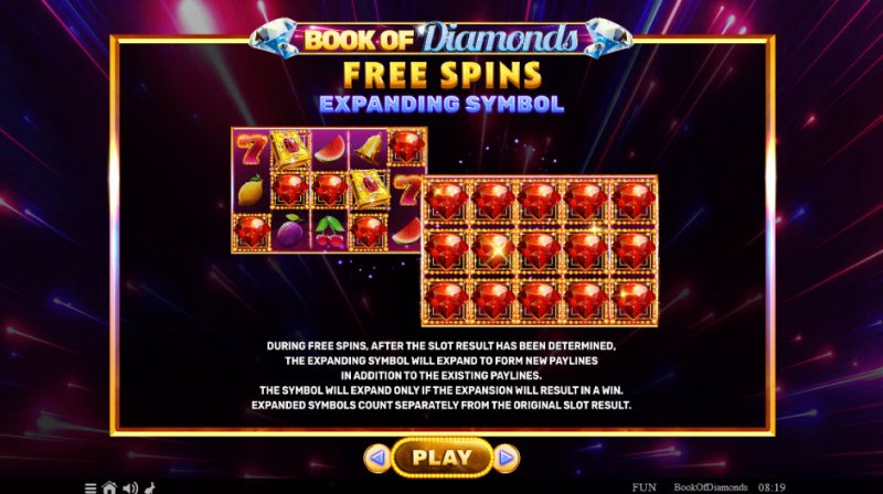 Book of Diamonds :: Free Spins Rules