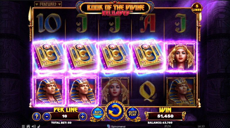Book of the Divine Reloaded :: Scatter symbols triggers the free spins bonus feature