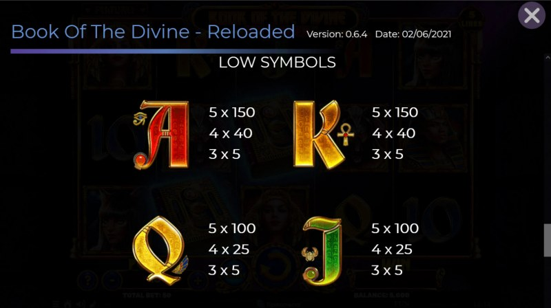 Book of the Divine Reloaded :: Paytable - Low Value Symbols