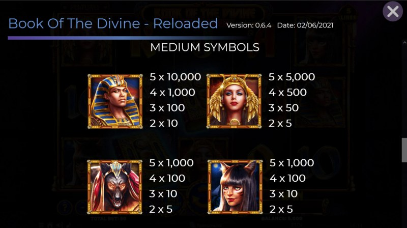 Book of the Divine Reloaded :: Paytable - Medium Value Symbols
