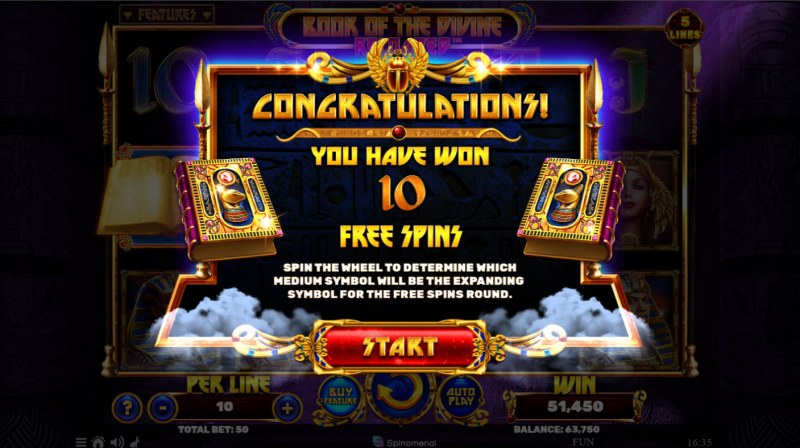 Book of the Divine Reloaded :: 10 free spins awarded