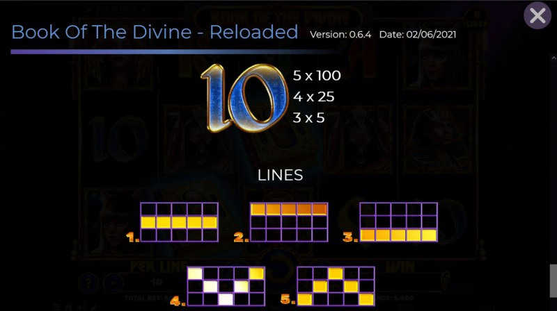 Book of the Divine Reloaded :: Paylines 1-5