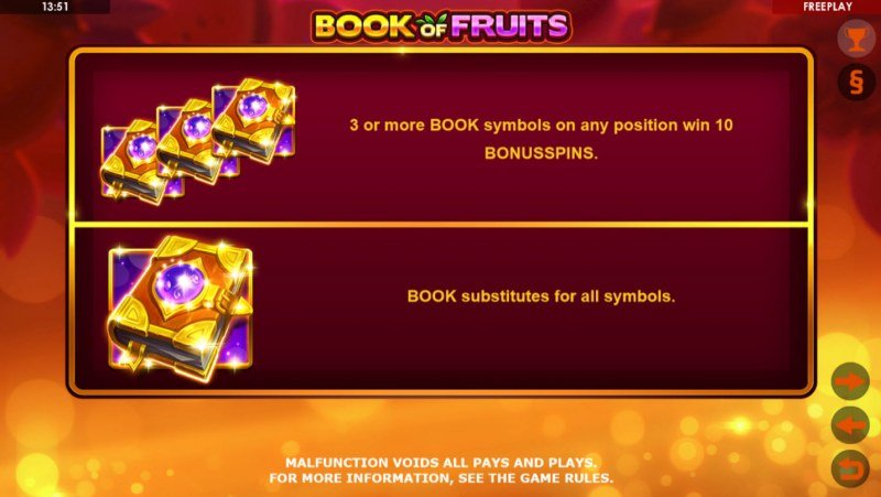 Book of Fruits :: Wild and Scatter Rules
