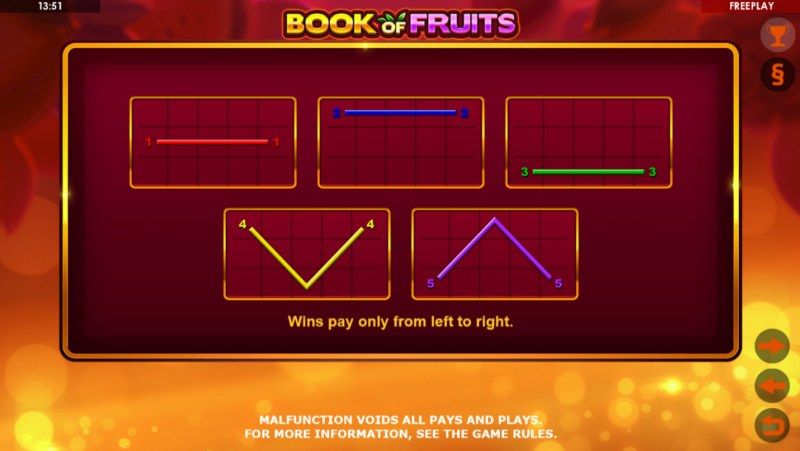 Book of Fruits :: Paylines 1-5