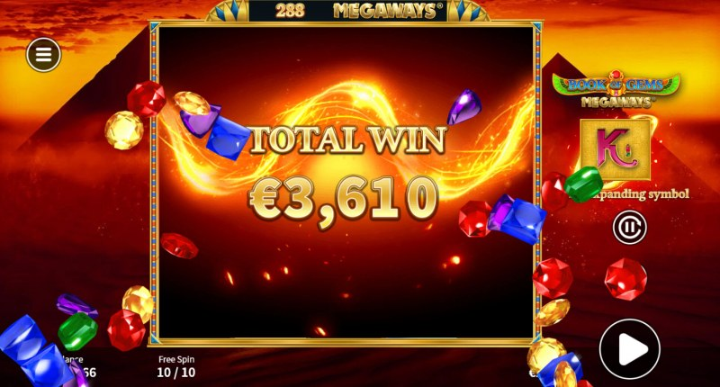 Book of Gems Megaways :: Total Free Spins Payout