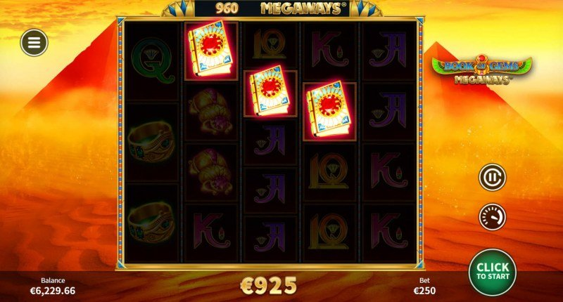 Book of Gems Megaways :: Scatter symbols triggers the free spins bonus feature