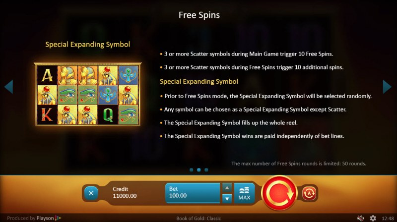 Book of Gold Classic :: Free Spins Rules