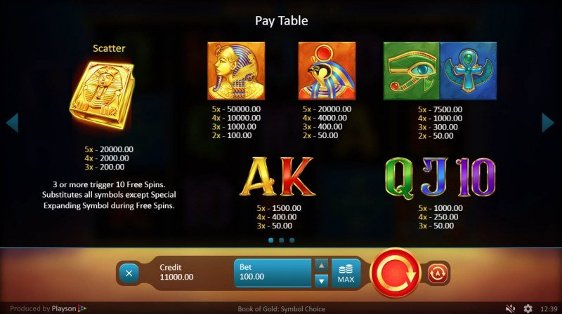 Book of Gold Symbol of Choice :: Paytable