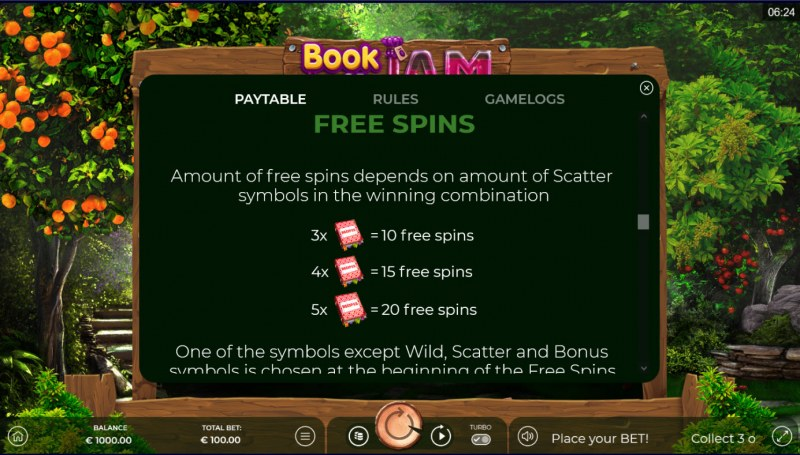 Book of Jam :: Free Spin Feature Rules