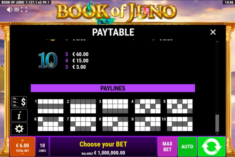Book of Juno :: Paylines 1-10